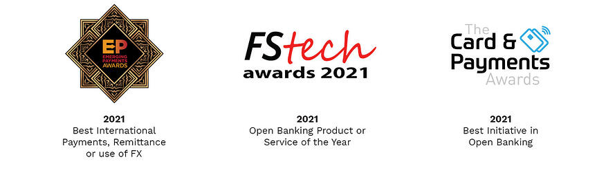 Proud winners of the Emerging Payment Awards 2021, FStech Awards 2021 and The Card & Payments Awards 2021